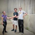 Organiser Elana Osen congratulates Jacob & Ed - but no trophy!